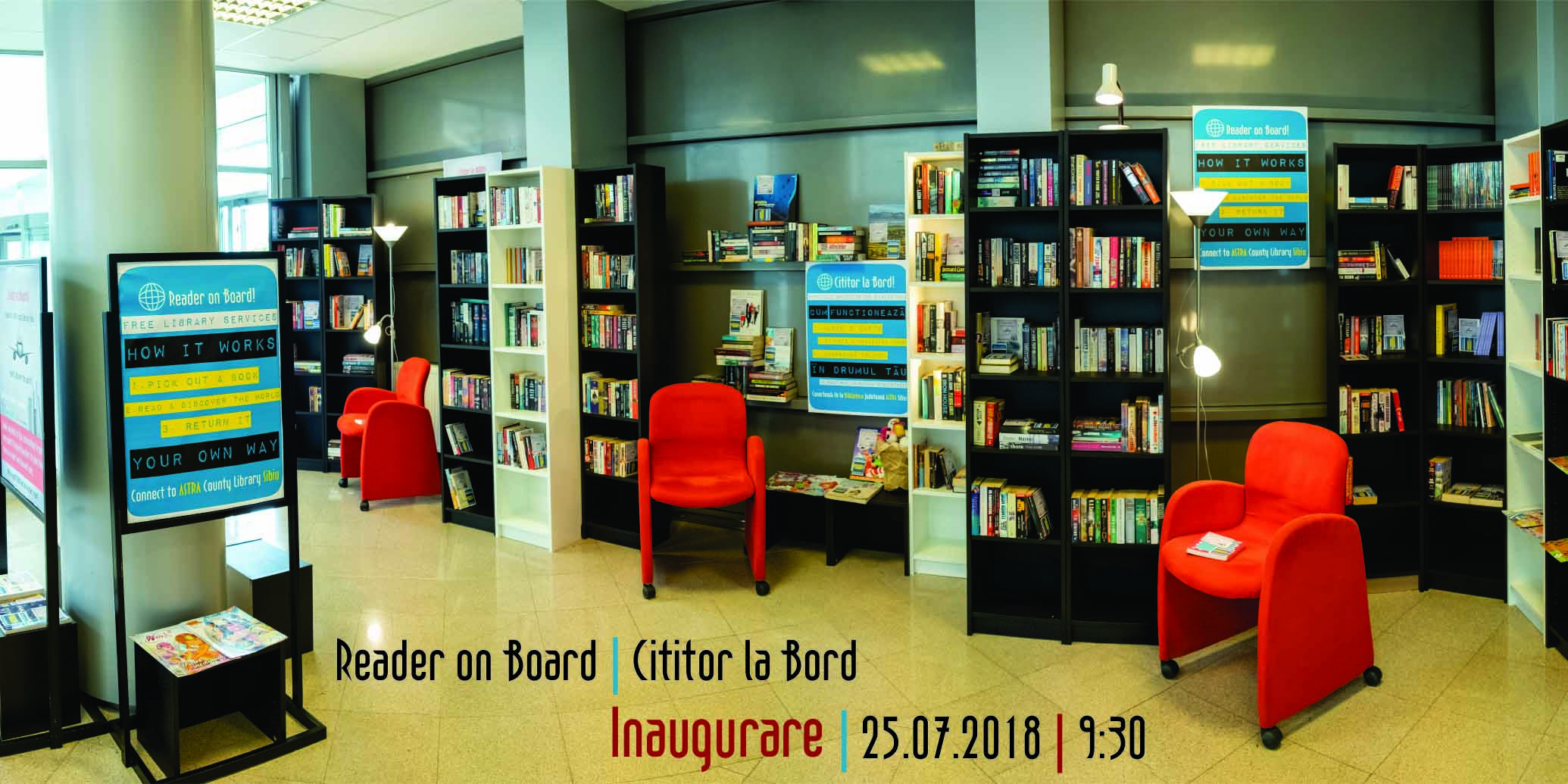 Reader on Board / Cititor la Bord - cărți pentru pasagerii Aeroportului Internațional Sibiu