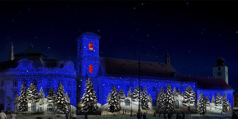 Târgul de Crăciun Sibiu - Proiectii arhitecturale şi concert cu Radu Nechifor